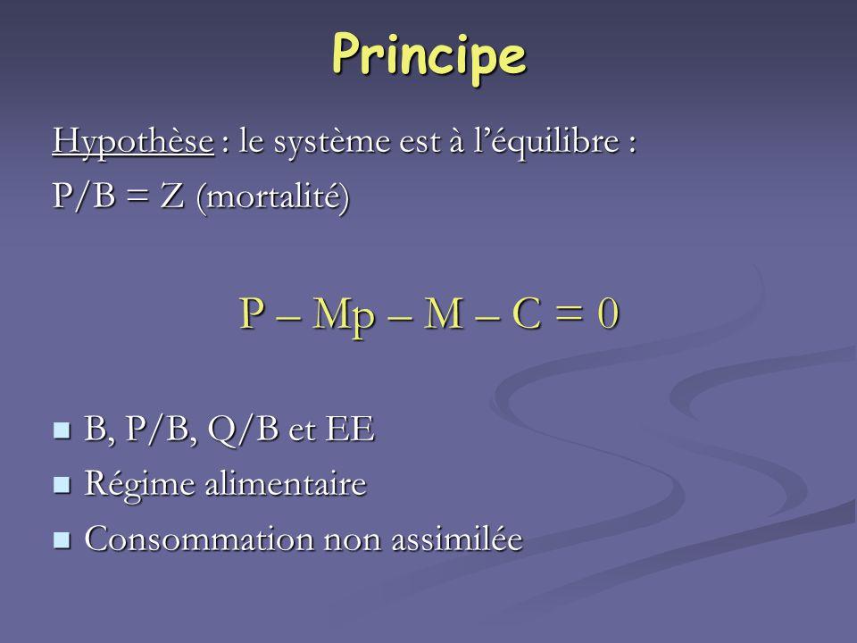 Principe P – Mp – M – C = 0 Hypothèse : le système est à l'équilibre :