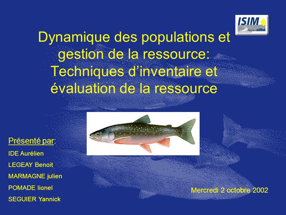Dynamique des populations et gestion de la ressource: Techniques d'inventaire et évaluation de la ressource