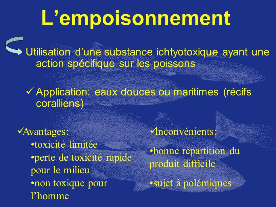 L'empoisonnement Utilisation d'une substance ichtyotoxique ayant une action spécifique sur les poissons.