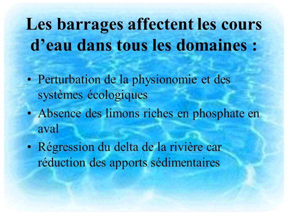 Les barrages affectent les cours d'eau dans tous les domaines :