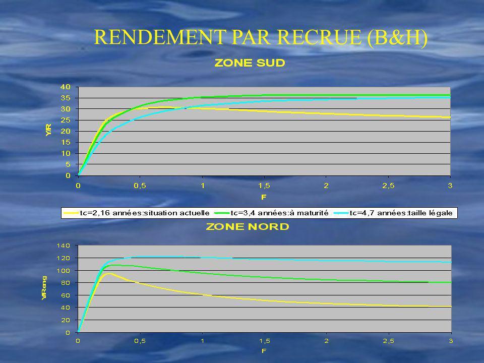 RENDEMENT PAR RECRUE (B&H)