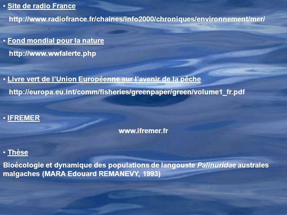 Site de radio France http://www.radiofrance.fr/chaines/info2000/chroniques/environnement/mer/ Fond mondial pour la nature.