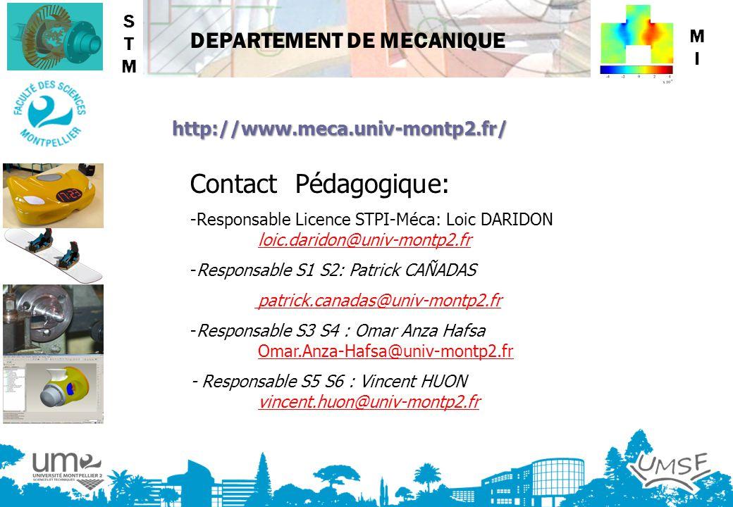 Contact Pédagogique: STM MI http://www.meca.univ-montp2.fr/