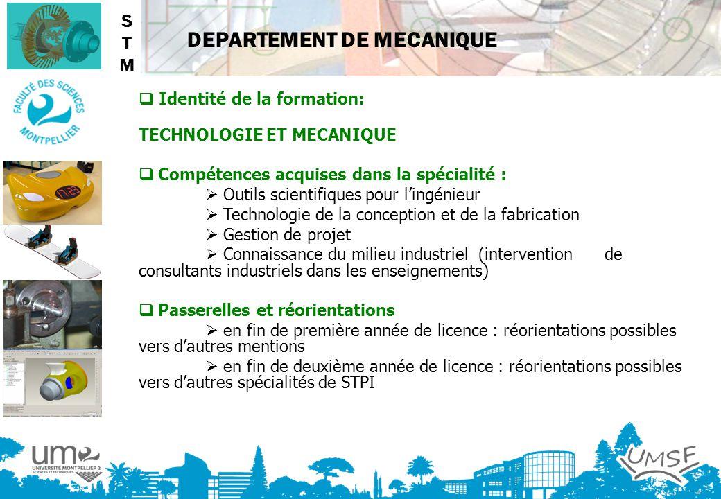 STM  Identité de la formation: TECHNOLOGIE ET MECANIQUE