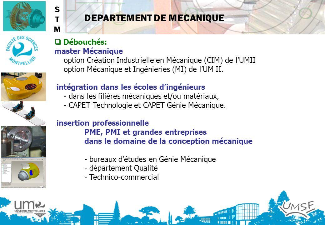 STM  Débouchés: master Mécanique