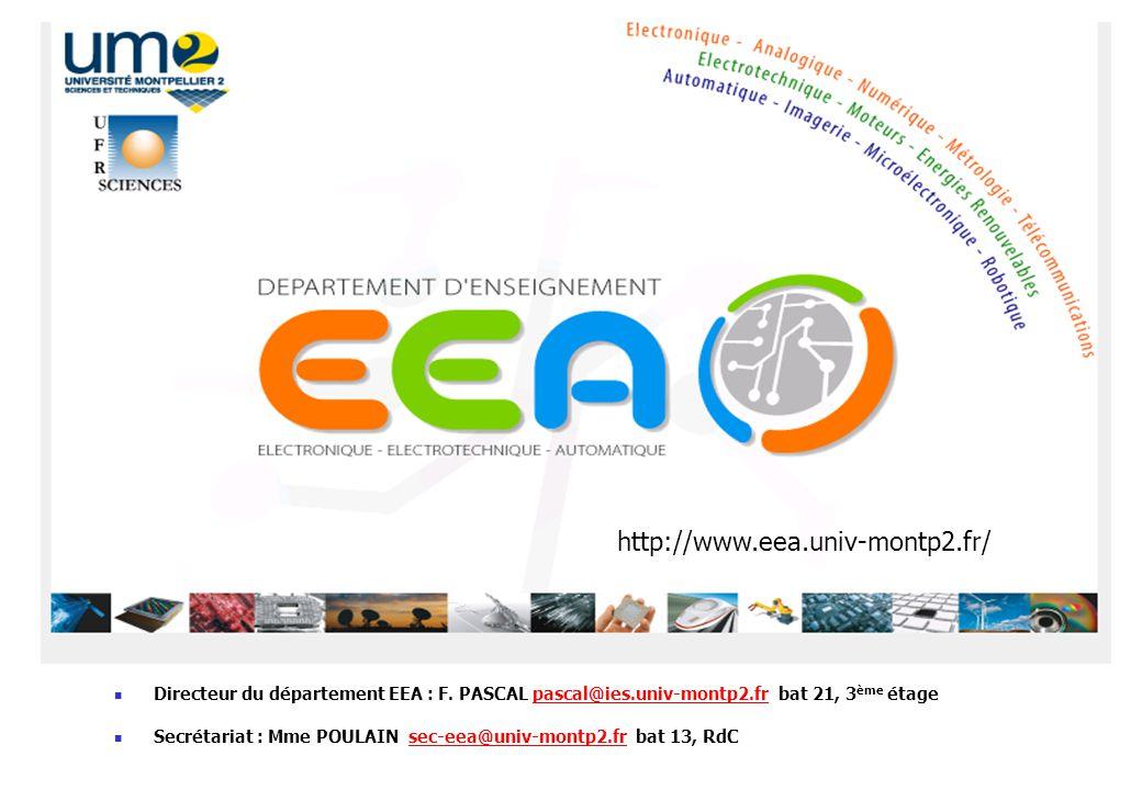 http://www.eea.univ-montp2.fr/ Directeur du département EEA : F. PASCAL pascal@ies.univ-montp2.fr bat 21, 3ème étage.