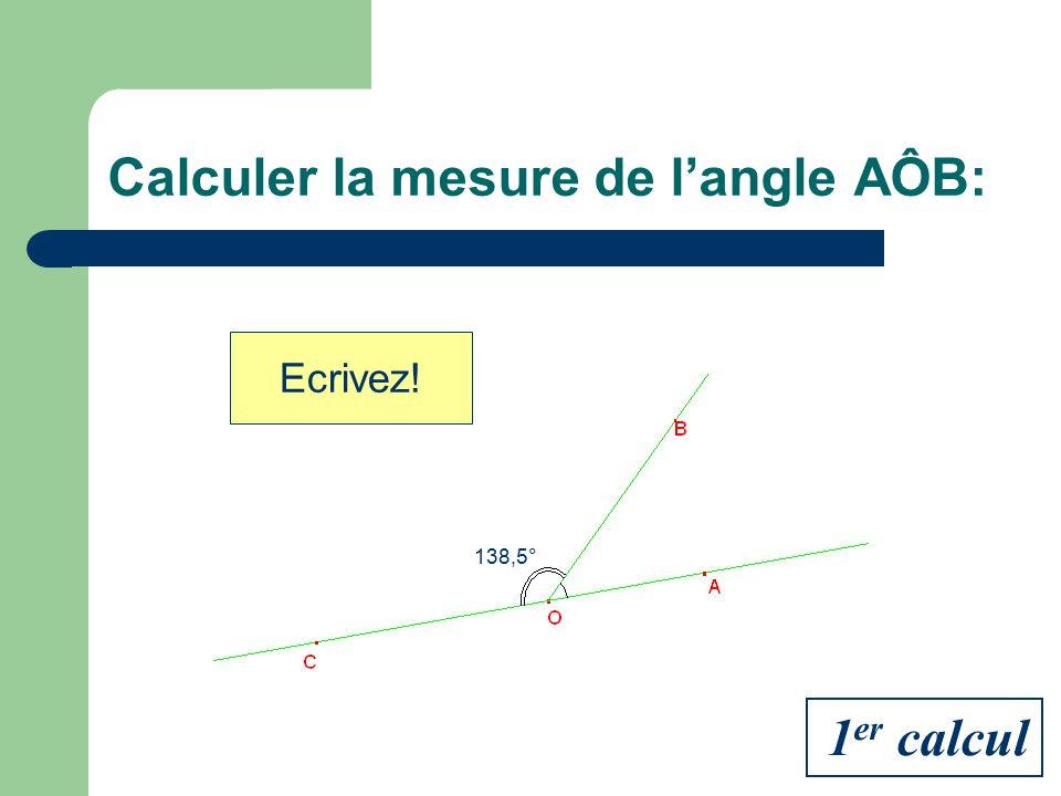 Calculer la mesure de l'angle AÔB: