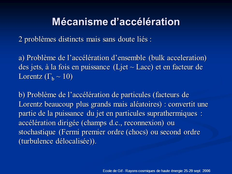 Mécanisme d'accélération