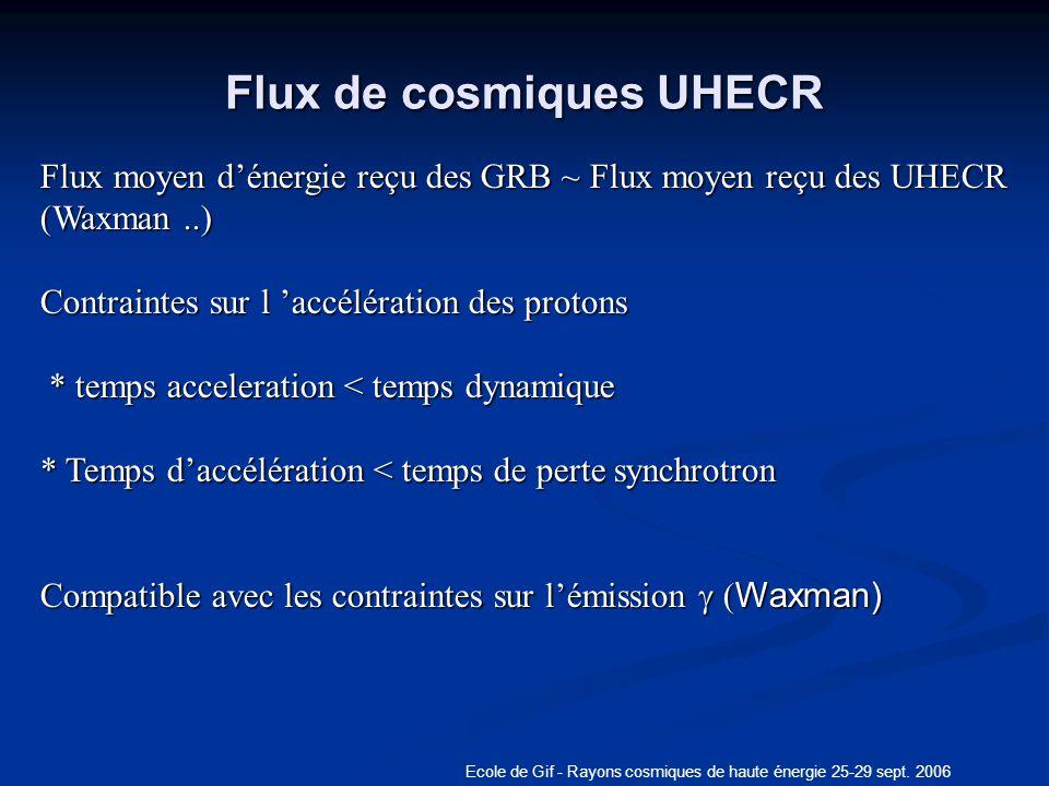 Flux de cosmiques UHECR