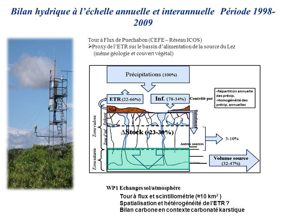 Bilan hydrique à l'échelle annuelle et interannuelle Période 1998-2009