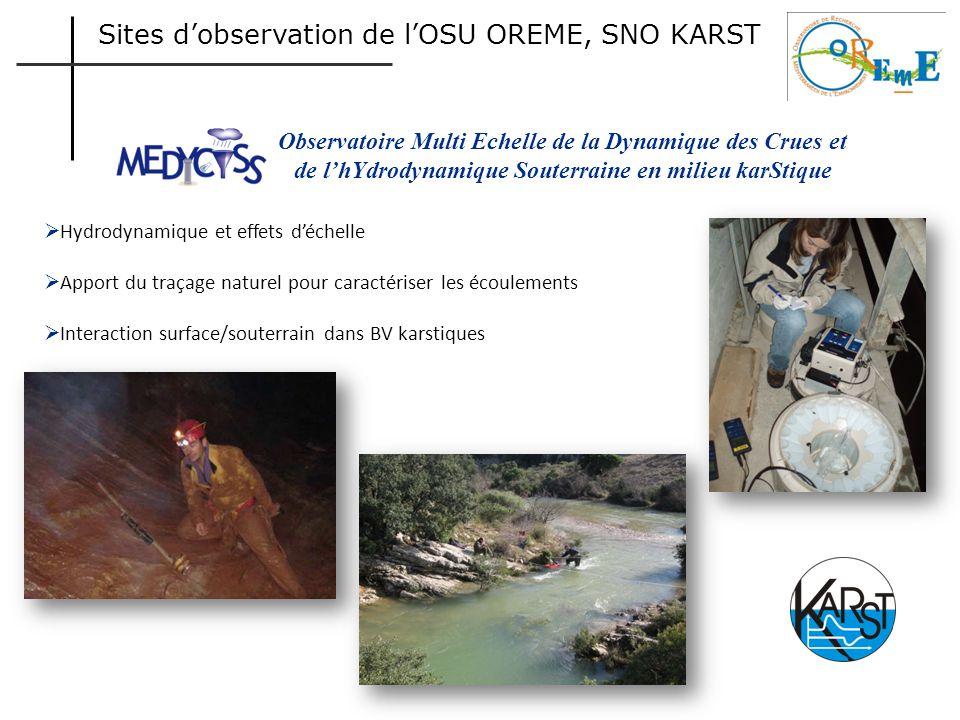 Sites d'observation de l'OSU OREME, SNO KARST