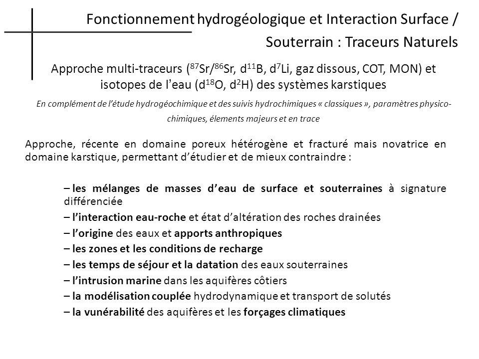 Fonctionnement hydrogéologique et Interaction Surface / Souterrain : Traceurs Naturels