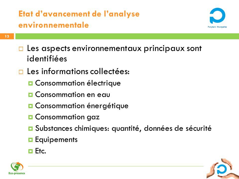 Etat d'avancement de l'analyse environnementale