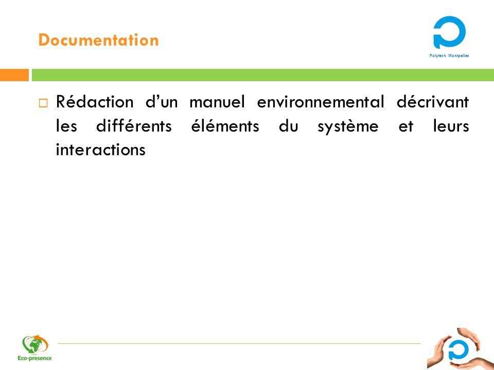 Documentation Rédaction d'un manuel environnemental décrivant les différents éléments du système et leurs interactions.