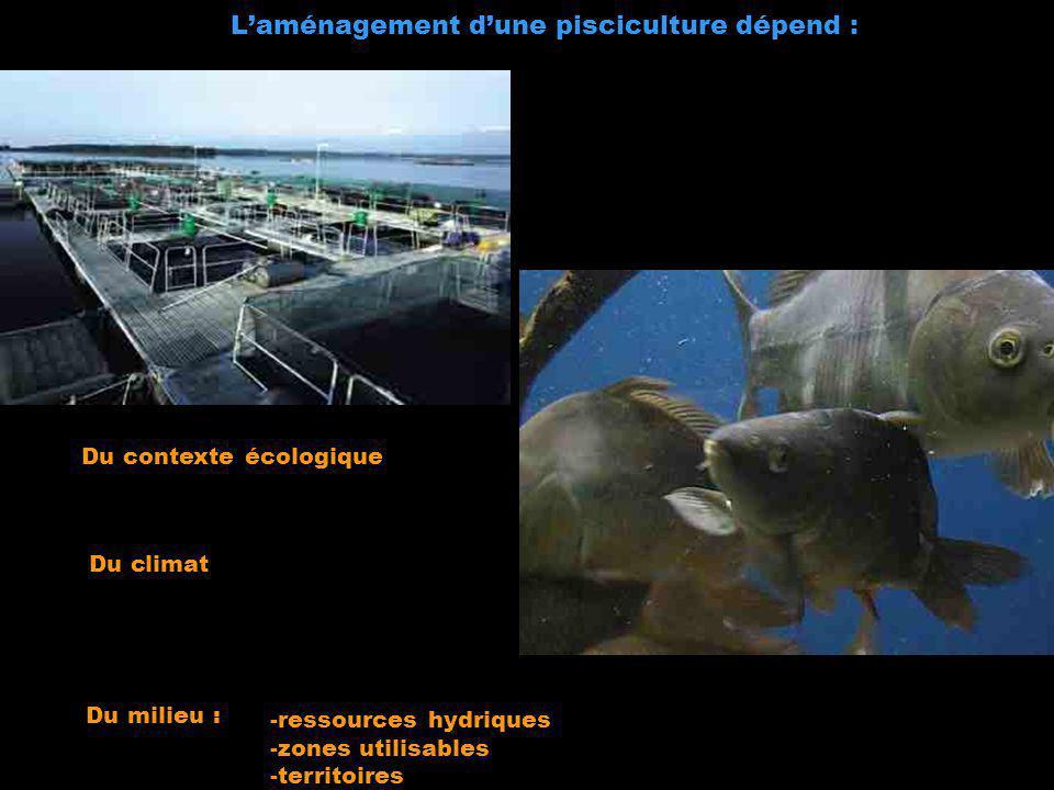 L'aménagement d'une pisciculture dépend :