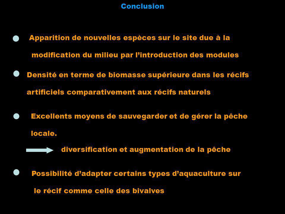 Conclusion Apparition de nouvelles espèces sur le site due à la. modification du milieu par l'introduction des modules.