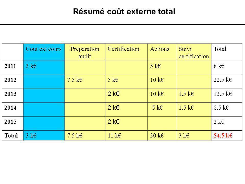 Résumé coût externe total