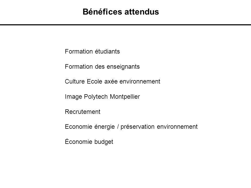 Bénéfices attendus Formation étudiants Formation des enseignants