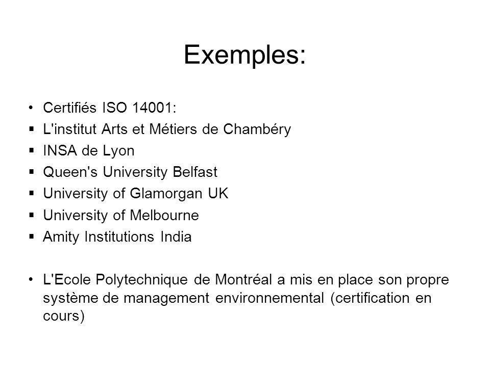Exemples: Certifiés ISO 14001: L institut Arts et Métiers de Chambéry