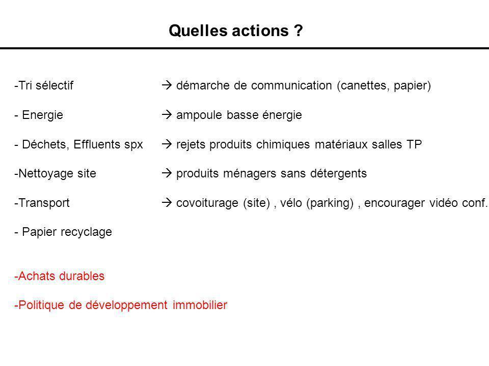 Quelles actions Tri sélectif  démarche de communication (canettes, papier) Energie  ampoule basse énergie.