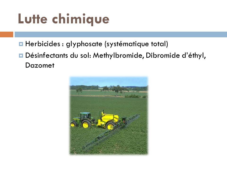 Lutte chimique Herbicides : glyphosate (systématique total)