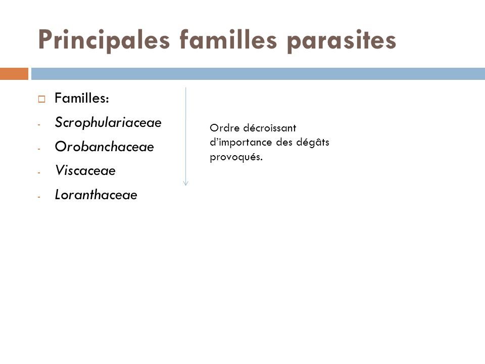 Principales familles parasites