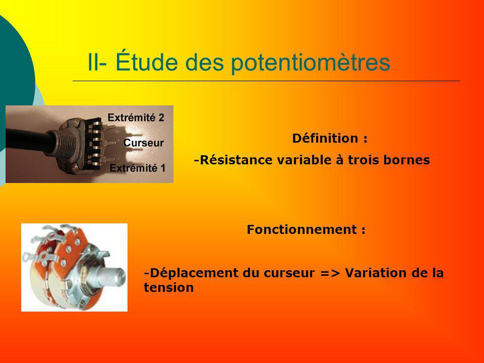 II- Étude des potentiomètres