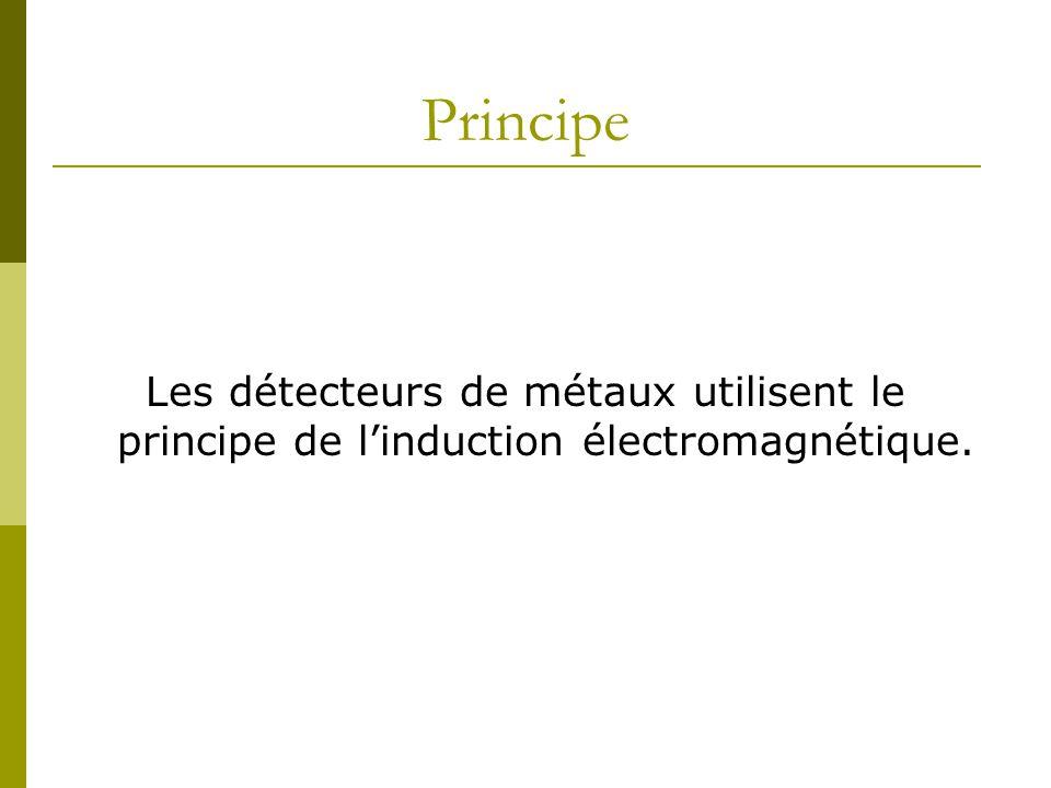 Principe Les détecteurs de métaux utilisent le principe de l'induction électromagnétique.