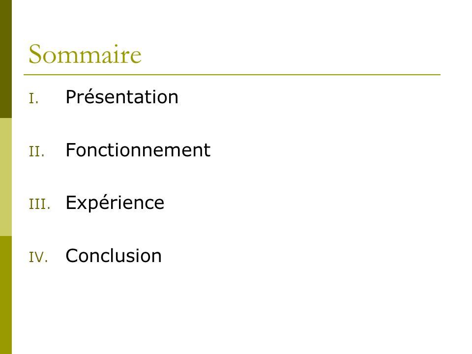 Sommaire Présentation Fonctionnement Expérience Conclusion