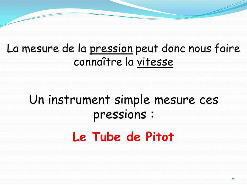 Un instrument simple mesure ces pressions : Le Tube de Pitot