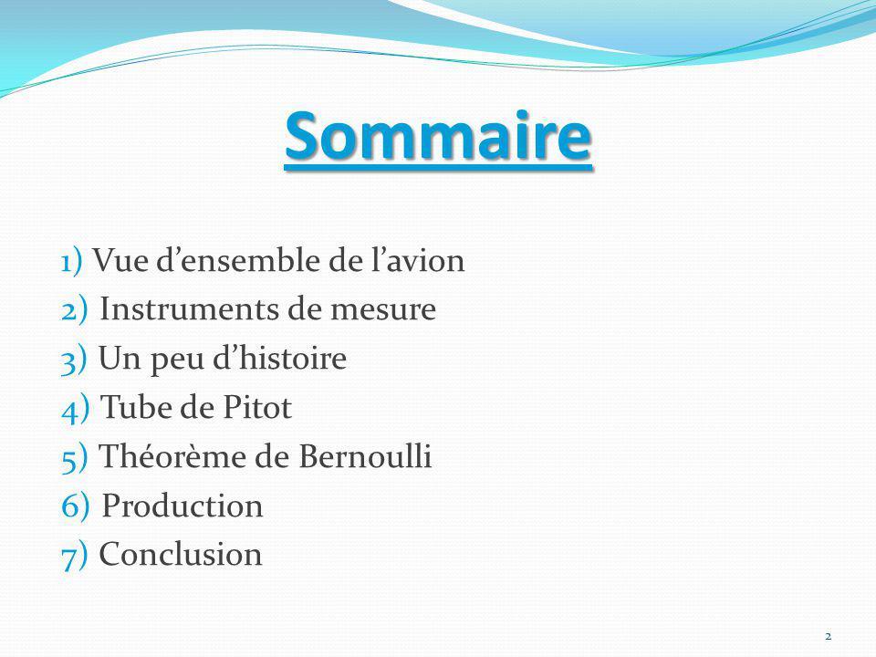 Sommaire 1) Vue d'ensemble de l'avion 2) Instruments de mesure