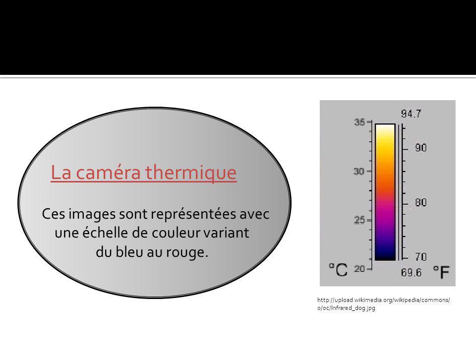 La caméra thermique Ces images sont représentées avec
