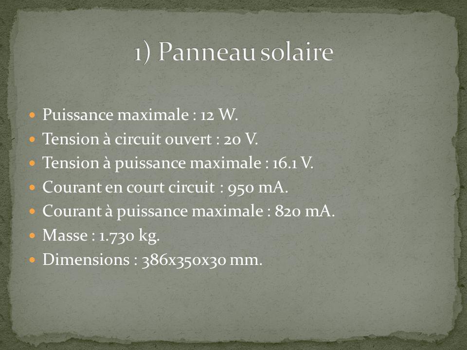 1) Panneau solaire Puissance maximale : 12 W.