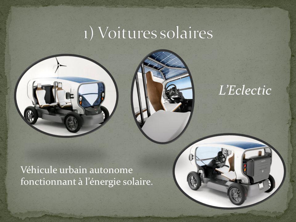 1) Voitures solaires L'Eclectic Véhicule urbain autonome