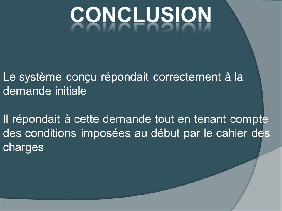 conclusion Le système conçu répondait correctement à la demande initiale.