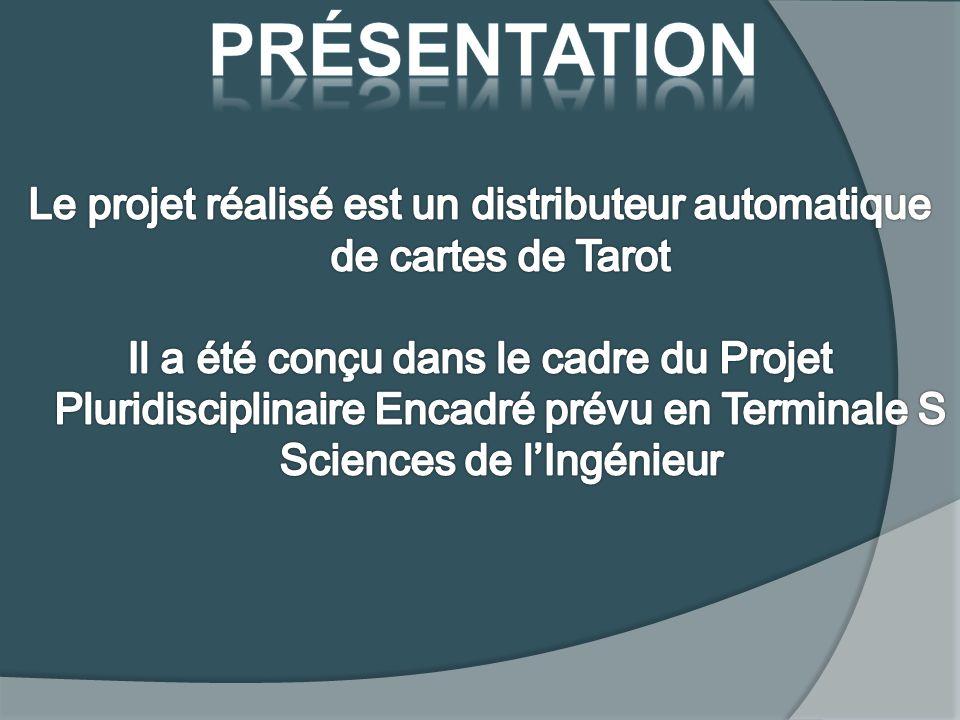 Le projet réalisé est un distributeur automatique de cartes de Tarot