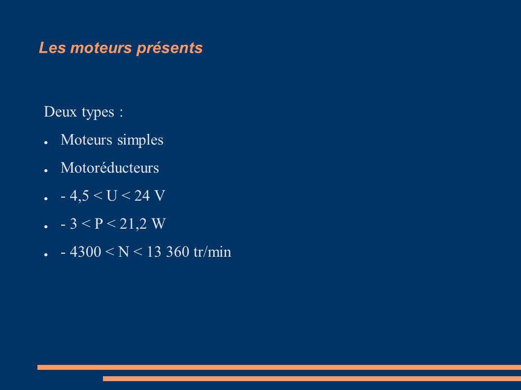 Les moteurs présents Deux types : Moteurs simples. Motoréducteurs. - 4,5 < U < 24 V. - 3 < P < 21,2 W.