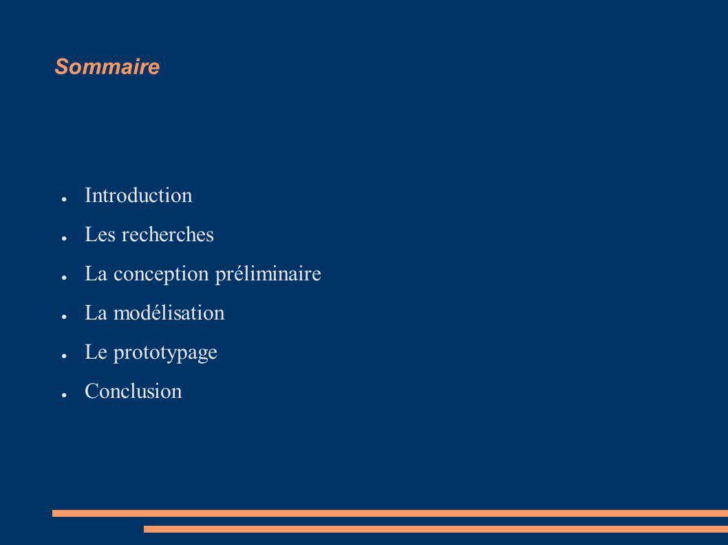 Sommaire Introduction. Les recherches. La conception préliminaire. La modélisation. Le prototypage.