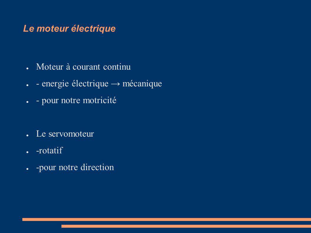 Le moteur électrique Moteur à courant continu. - energie électrique → mécanique. - pour notre motricité.