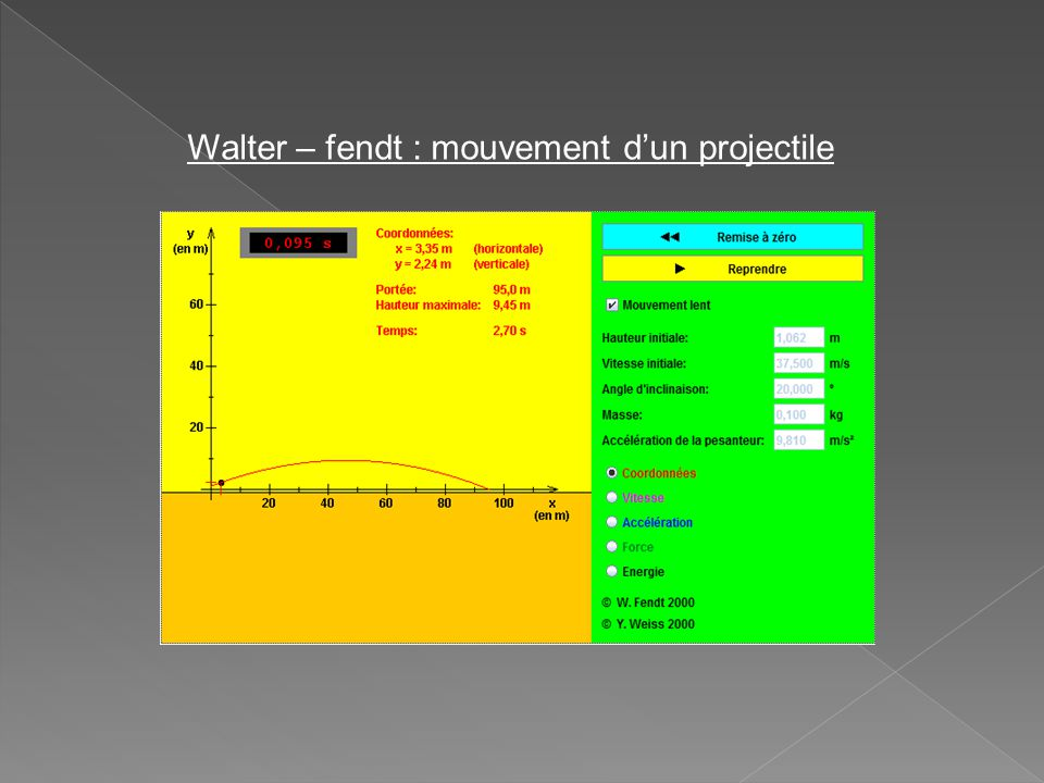 Walter – fendt : mouvement d'un projectile