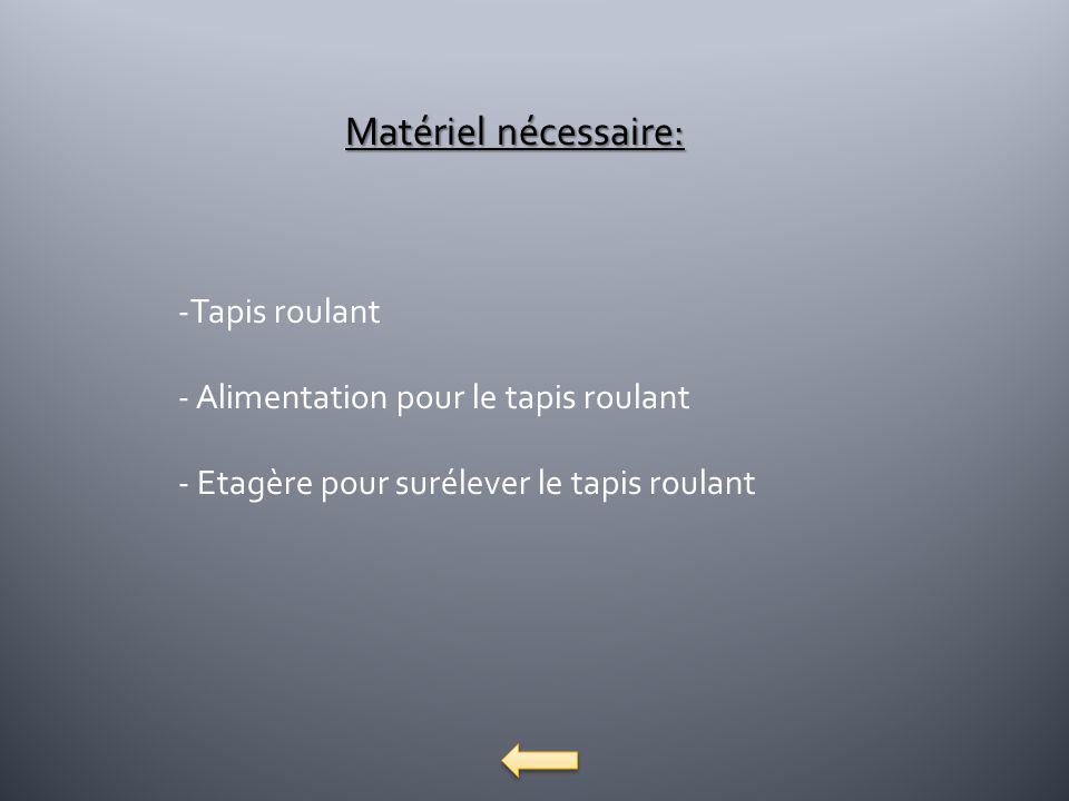 Matériel nécessaire: Tapis roulant Alimentation pour le tapis roulant