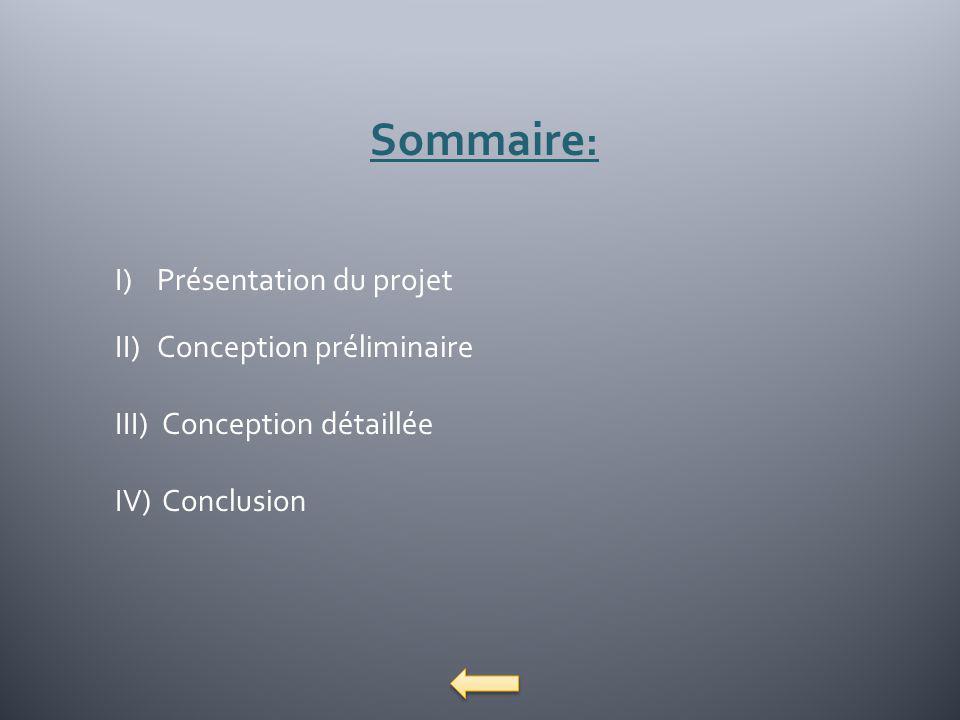 Sommaire: Présentation du projet Conception préliminaire