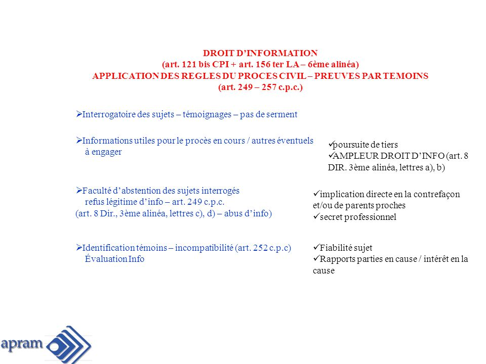 (art. 121 bis CPI + art. 156 ter LA – 6ème alinéa)