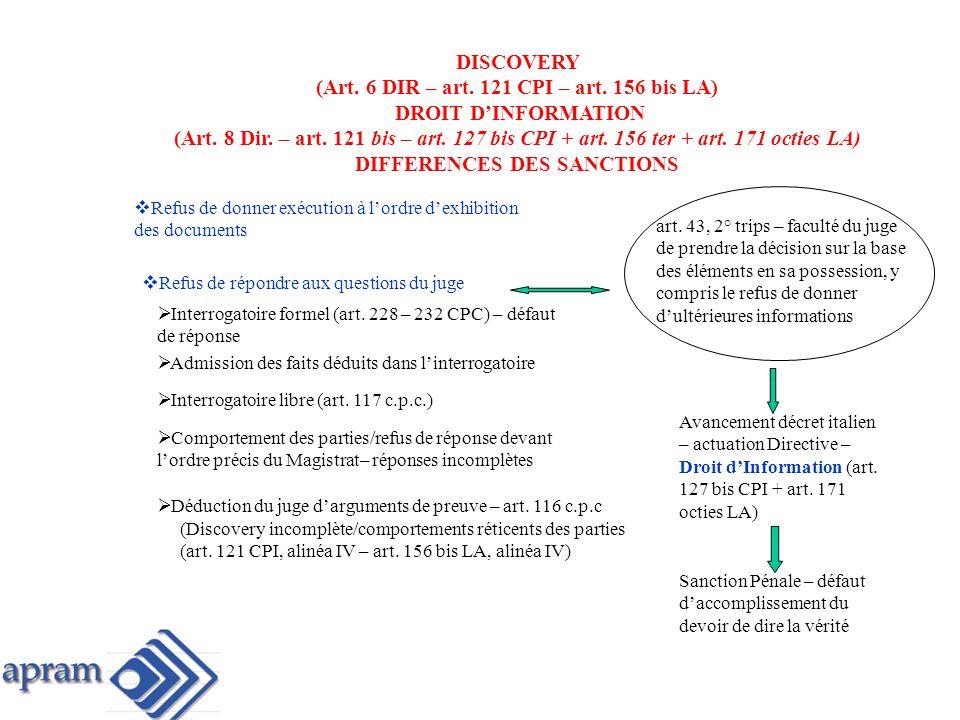 (Art. 6 DIR – art. 121 CPI – art. 156 bis LA) DROIT D'INFORMATION