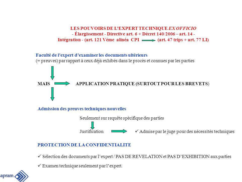 LES POUVOIRS DE L'EXPERT TECHNIQUE EX OFFICIO