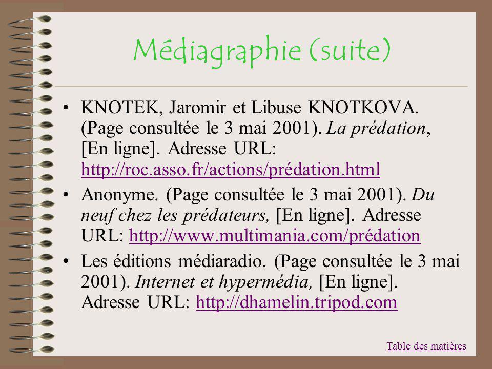 Médiagraphie (suite)