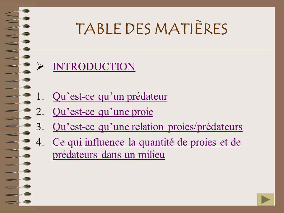 TABLE DES MATIÈRES INTRODUCTION Qu'est-ce qu'un prédateur