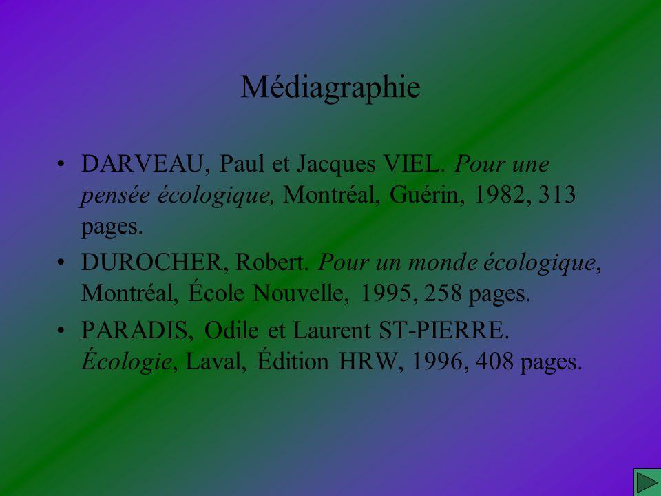 Médiagraphie DARVEAU, Paul et Jacques VIEL. Pour une pensée écologique, Montréal, Guérin, 1982, 313 pages.