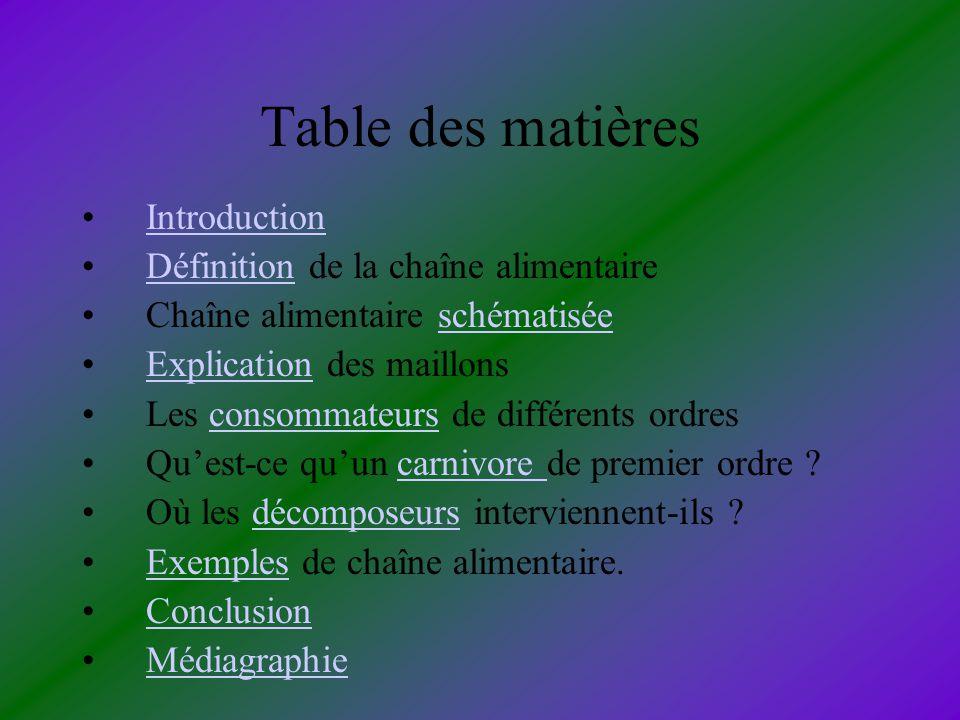 Table des matières Introduction Définition de la chaîne alimentaire