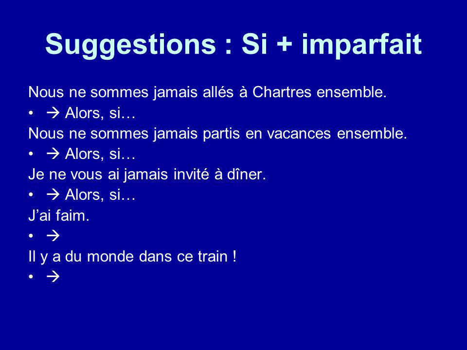 Suggestions : Si + imparfait